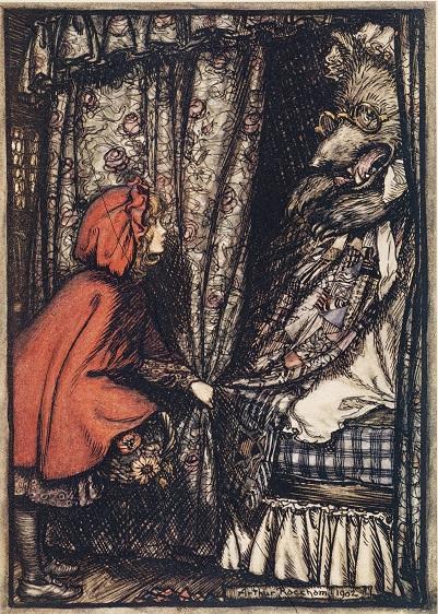 アーサー・ラッカム画「赤ずきん」『FairyTales of Brother's Grimm』1909年/Doubleday, Page&Co刊